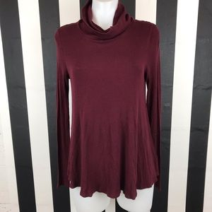 Deletta Anthro Carra Maroon Ribbed Turtleneck